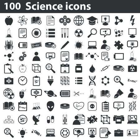 science symbols: 100 science icons set, black, on white background