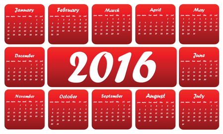 april clipart: Red 2016 calendar, in English, squares on white background