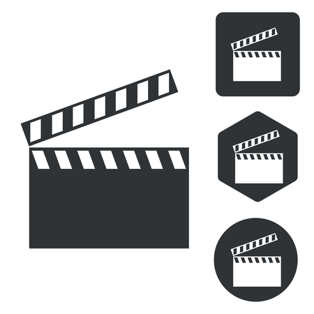 clapperboard: Clapperboard icon set, monochrome, isolated on white Illustration