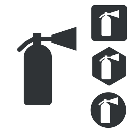 conflagration: Fire extinguisher icon set, monochrome, isolated on white