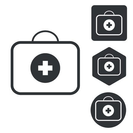 firstaid: First-aid kit icon set, monochrome, isolated on white