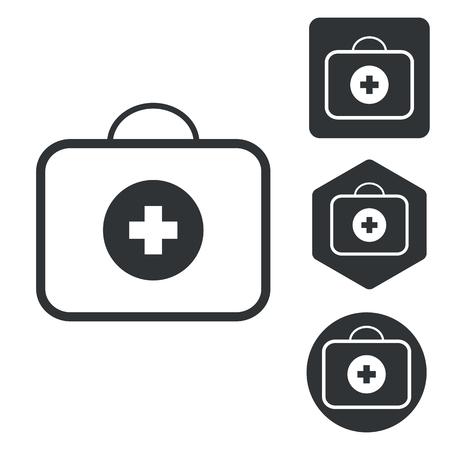 bag icon: First-aid kit icon set, monochrome, isolated on white