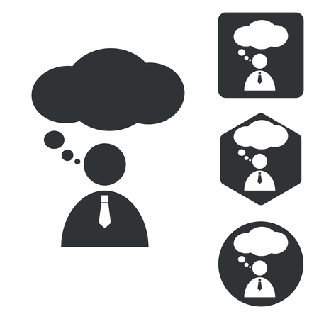mental confusion: Thinking person icon set, monochrome, isolated on white