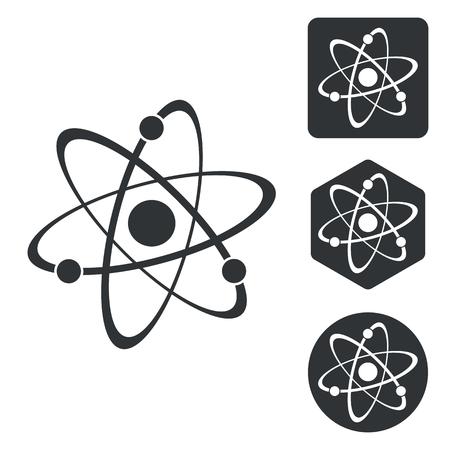 el atomo: Conjunto de iconos de átomo, blanco y negro, aislado en blanco