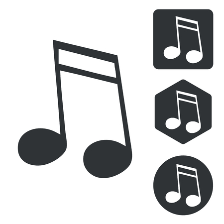 doubled: Music icon set, doubled sixteenth note, monochrome, isolated on white