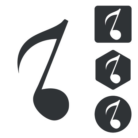 eighth note: Music icon set, eighth note, monochrome, isolated on white