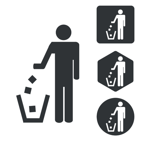 keep clean: Keep clean icon set, monochrome, isolated on white