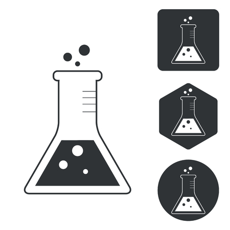 conical: Conical flask icon set, monochrome, isolated on white