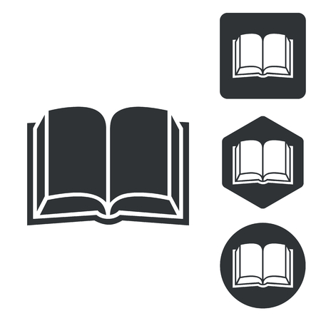broadside: Book icon set, monochrome, isolated on white