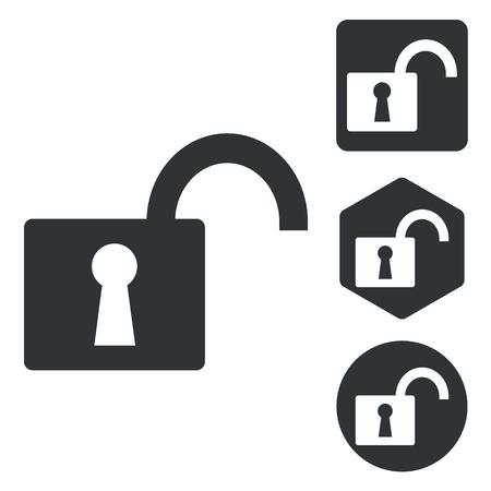 unlocked: Unlocked icon set, monochrome, isolated on white Illustration