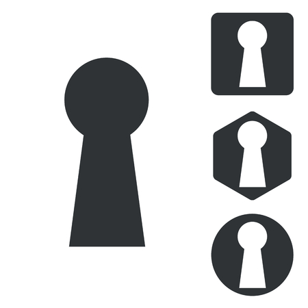 Keyhole icon set, monochrome, isolated on white Illustration