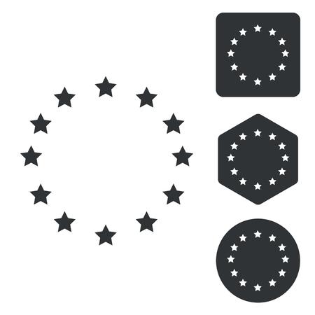 european integration: European Union icon set, monochrome, isolated on white
