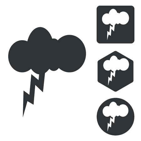 thunderbolt: Thunderbolt icon set, monochrome, isolated on white
