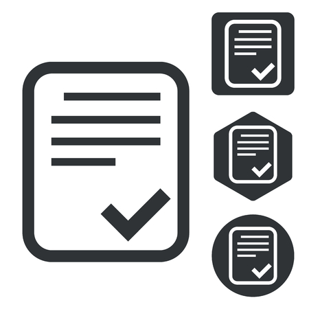 document icon: Approved document icon set, monochrome, isolated on white