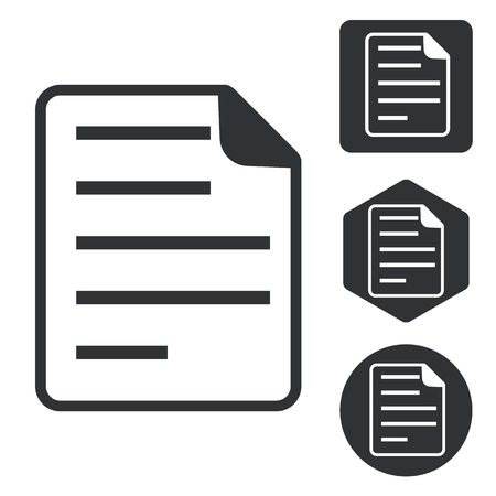 article writing: File icon set, monochrome, isolated on white