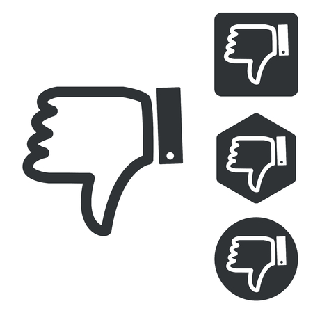 disapproval: Dislike icon set, monochrome, isolated on white