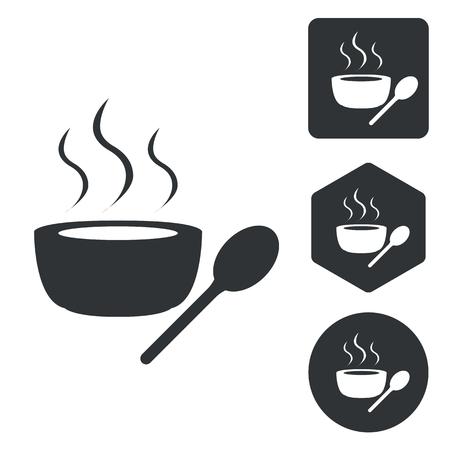 Hot soup icon set, monochrome, isolated on white
