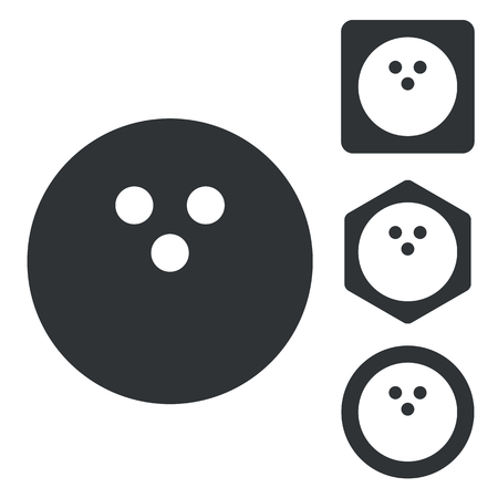 gutter: Bowling icon set, monochrome, isolated on white