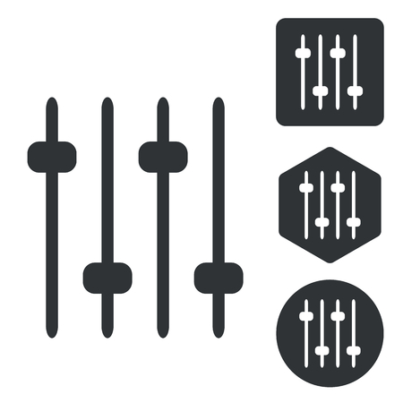 Faders icon set, monochrome, isolated on white