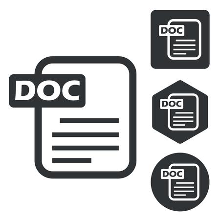 ms: DOC document icon set, monochrome, isolated on white