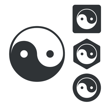 dao: Ying yang icon set, monochrome, isolated on white