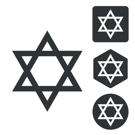 jews: Star of David icon set, monochrome, isolated on white