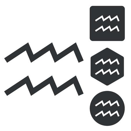 Aquarius icon set, monochrome, isolated on white