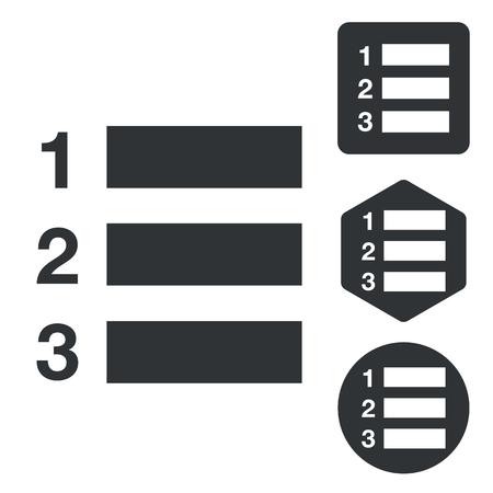 enumerated: Numbered list icon set, monochrome, isolated on white Illustration