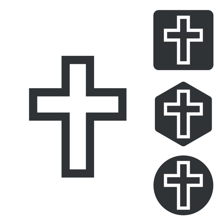 execution: Christian cross icon set, monochrome, isolated on white