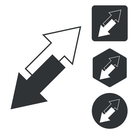 opposite arrows: Opposite arrows icon set, monochrome, isolated on white Illustration