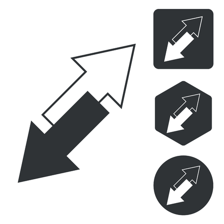 opposite: Opposite arrows icon set, monochrome, isolated on white Illustration