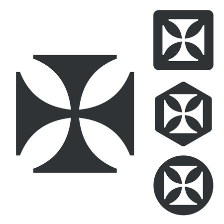 germanic: Maltese cross icon set, monochrome, isolated on white Illustration