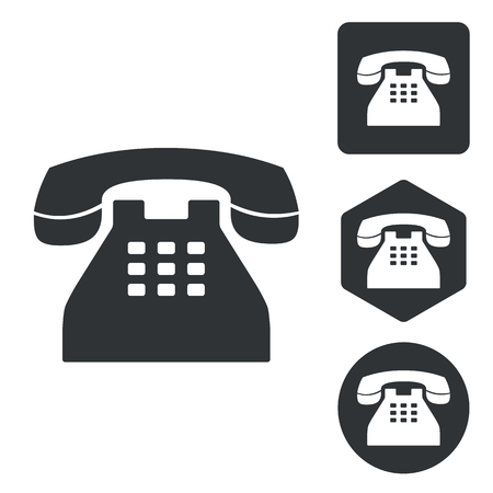 Telephone icon set, monochrome, isolated on white 矢量图像