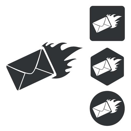 meaningful: Burning envelope icon set, monochrome, isolated on white Illustration