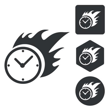 bounds: Burning clock icon set, monochrome, isolated on white
