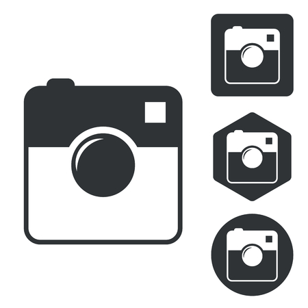 microblog: Square camera icon set, monochrome, isolated on white