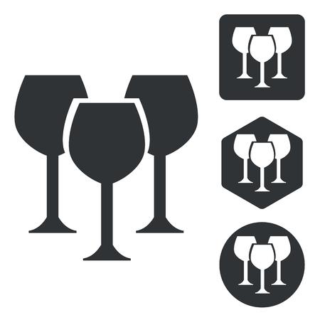 copa de vino: Conjunto de iconos de la copa de vino, blanco y negro, aislado en blanco