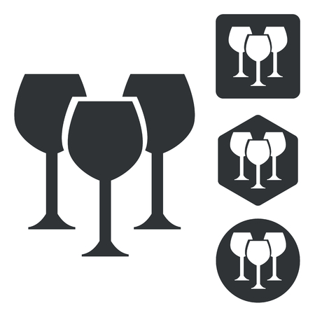 wine glass: Wine glass icon set, monochrome, isolated on white