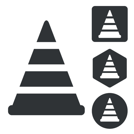 Traffic cone icon set, monochrome, isolated on white