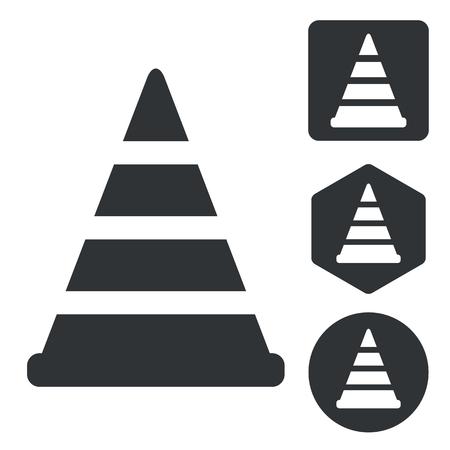 diversion: Traffic cone icon set, monochrome, isolated on white