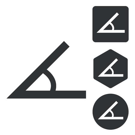 angle: Angle icon set, monochrome, isolated on white Illustration