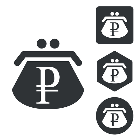 rouble: Rouble purse icon set, monochrome, isolated on white Illustration