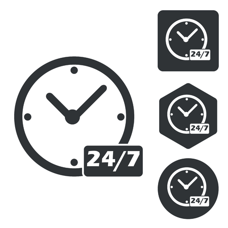 overnight: Overnight daily icon set, monochrome, isolated on white