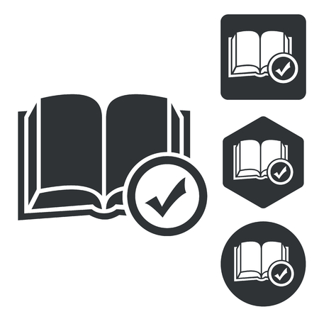 select: Select book icon set, monochrome, isolated on white Illustration