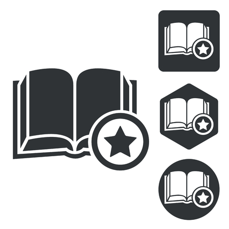 favorite book: Favorite book icon set, monochrome, isolated on white Illustration