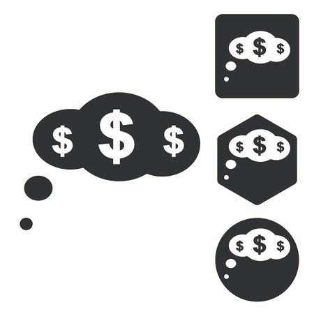 dollar icon: Dollar thought icon set, monochrome, isolated on white
