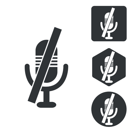 muted: Muted microphone icon set, monochrome, isolated on white Illustration