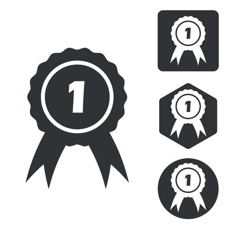 corroboration: First place icon set, monochrome, isolated on white Illustration