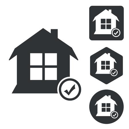 select: Select house icon set, monochrome, isolated on white Illustration