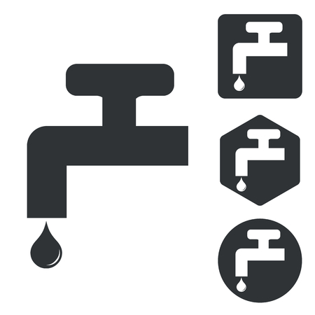 sanitary engineering: Water tap icon set, monochrome, isolated on white
